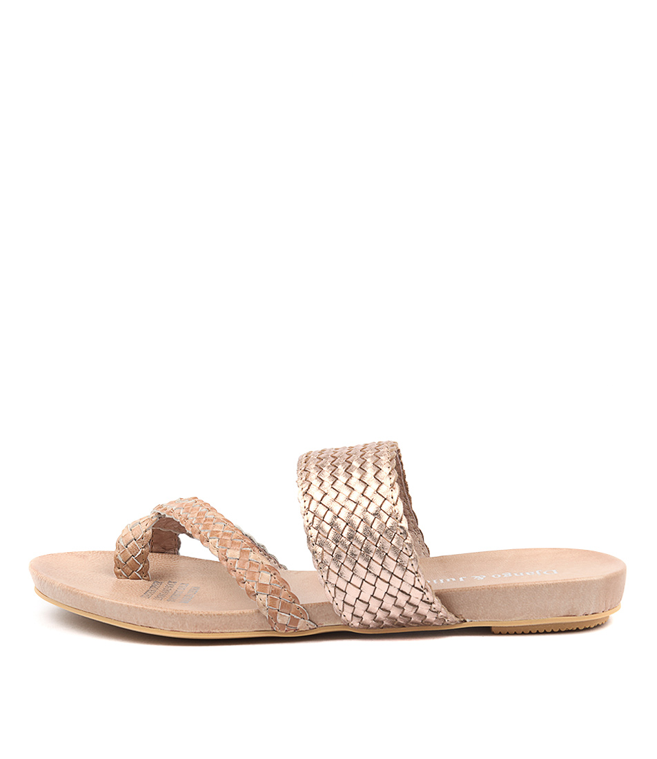 Buy Django & Juliette Gallow Nude Rose Gold Flat Sandals online with free shipping
