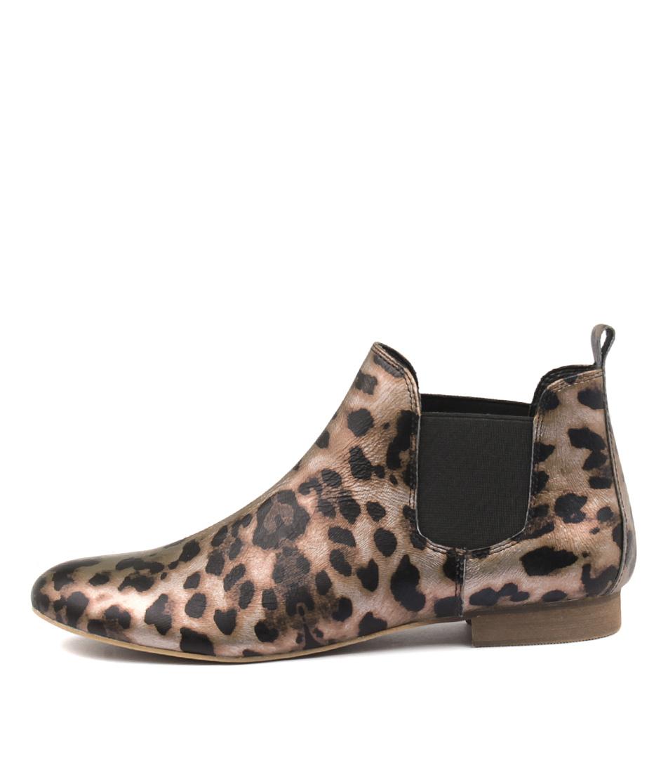 Django & Juliette Glenvale Ocelot Print Ankle Boots