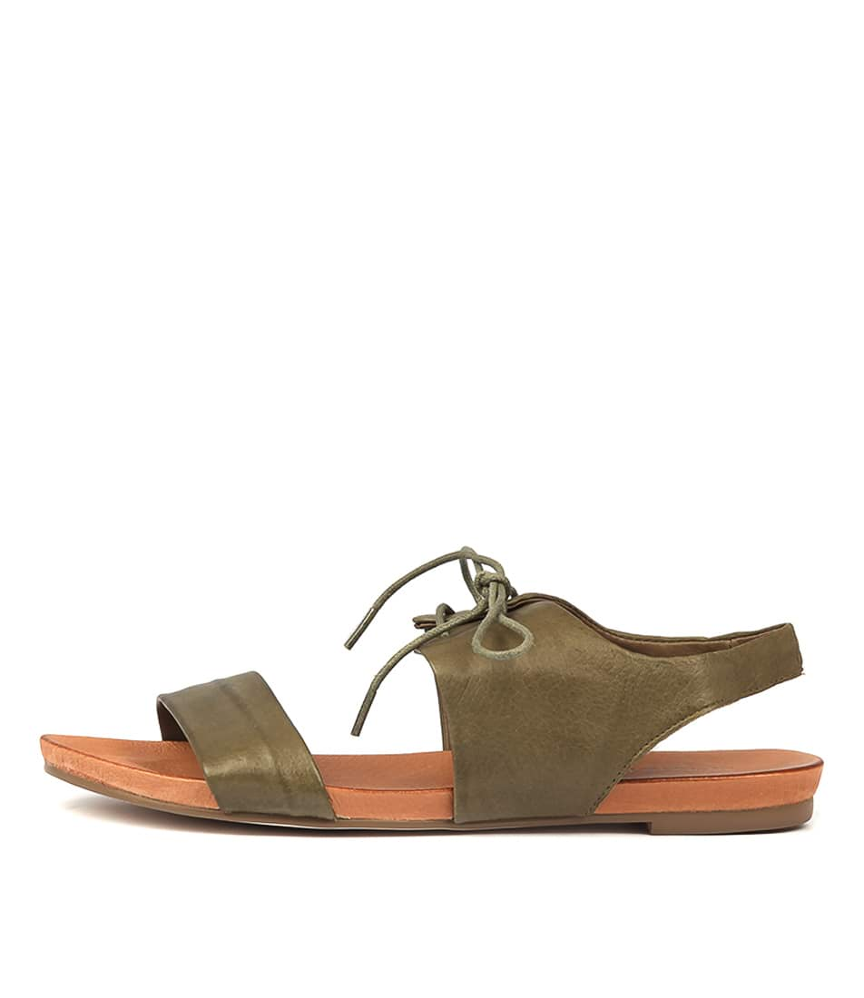 Buy Django & Juliette James Khaki Flat Sandals online with free shipping