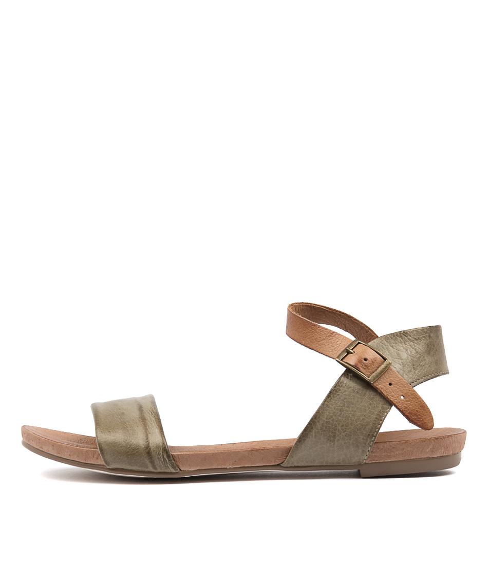 Django & Juliette Jinnit Olive Tan Sandals