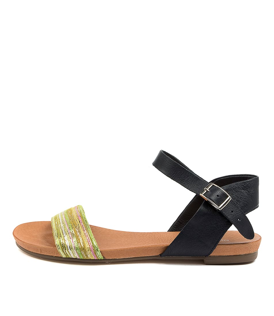 Buy Django & Juliette Jinnit Green Multi Navy Flat Sandals online with free shipping