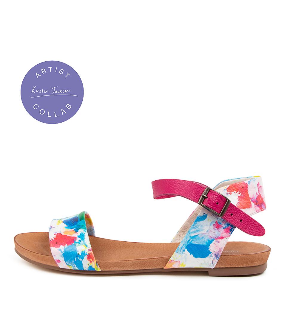 Buy Django & Juliette Jinnit Sunset Fuchsia Flat Sandals online with free shipping