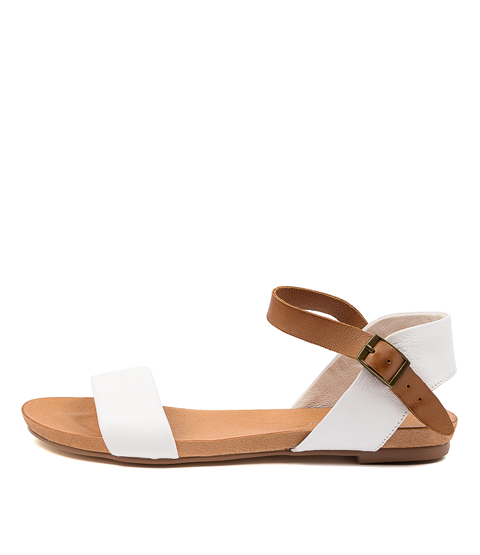 Buy Django & Juliette Jinnit White Tan Flat Sandals online with free shipping