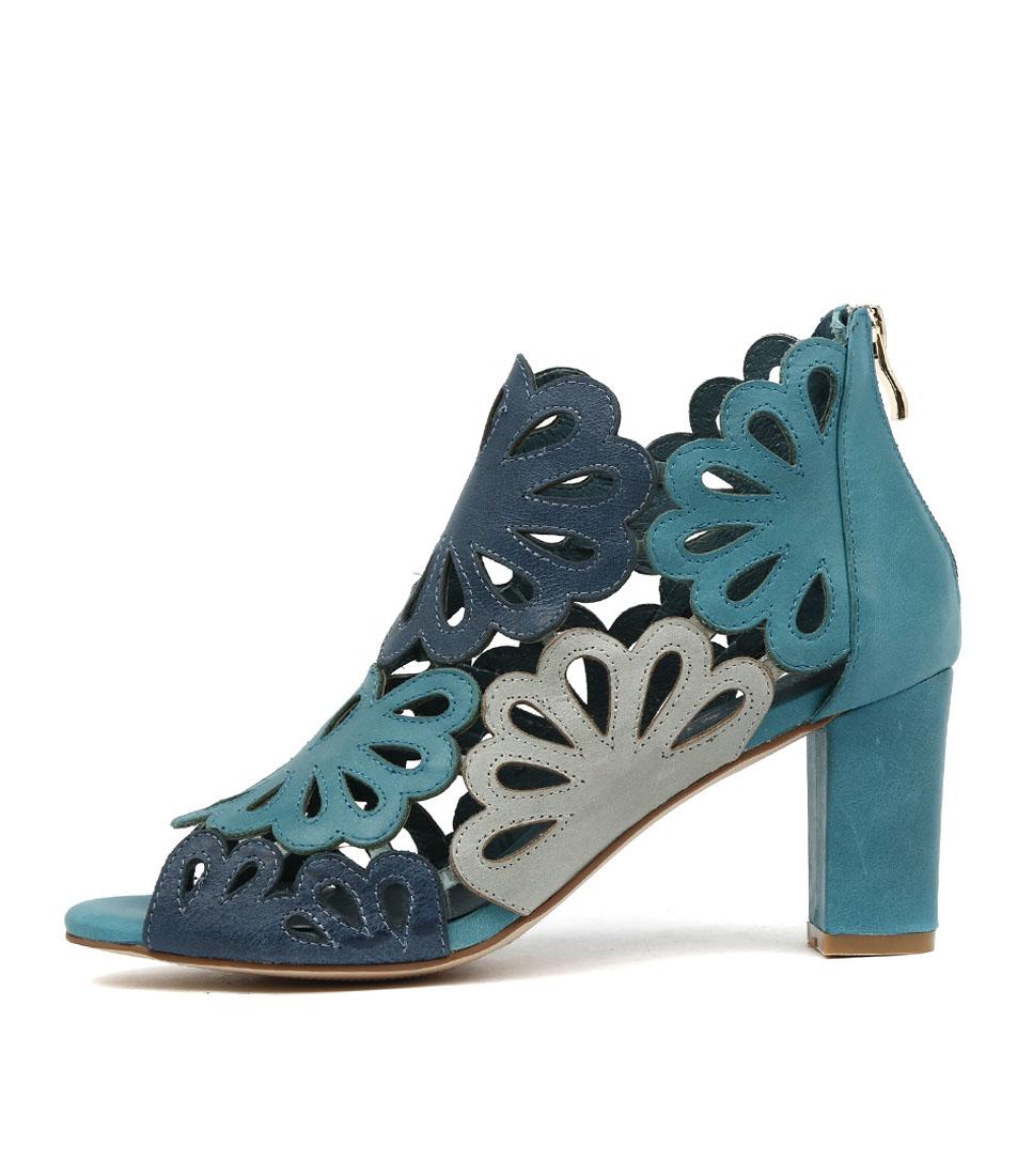 Django & Juliette Nicky Turquoise Multi Heeled Sandals