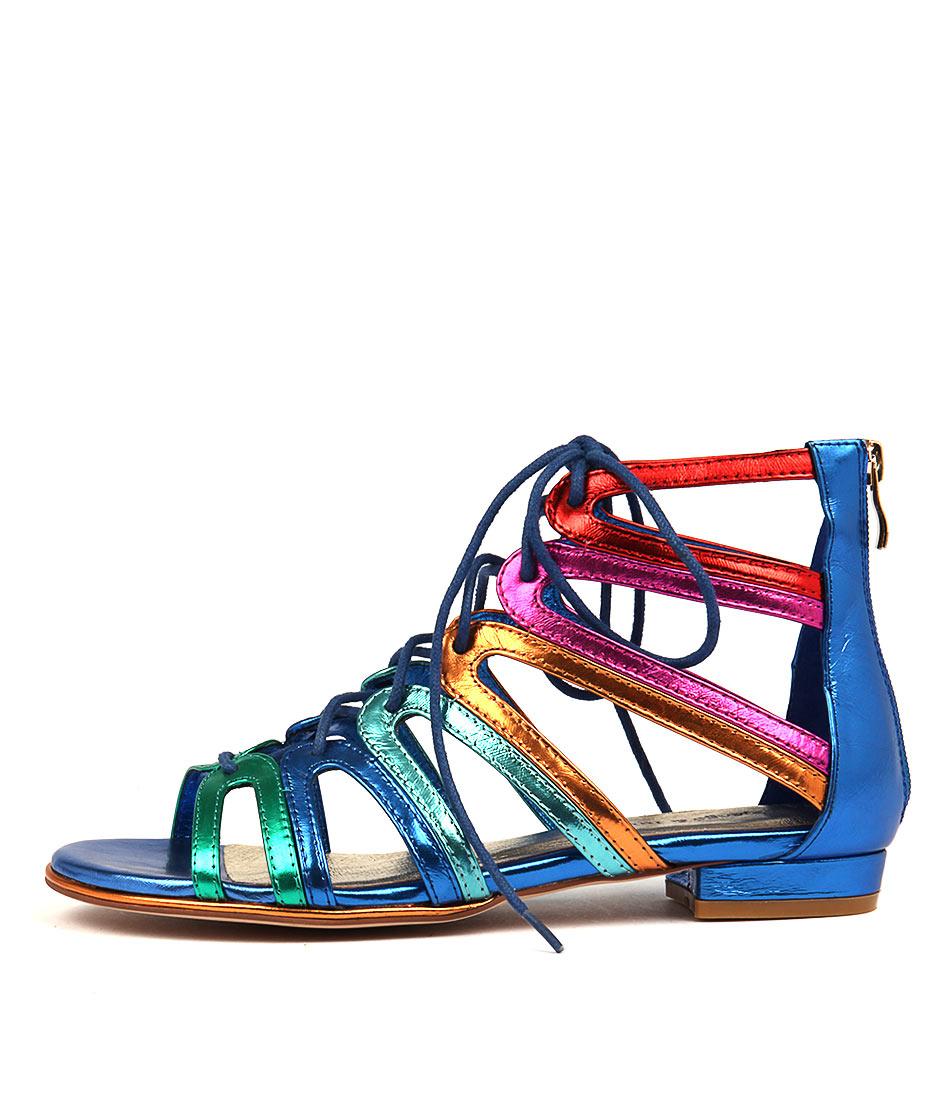 Django & Juliette Odessa Bright Metallic Multi Dress Flat Sandals