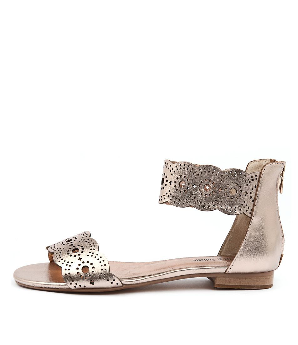 Django & Juliette Palatie Rose Gold Casual Flat Sandals