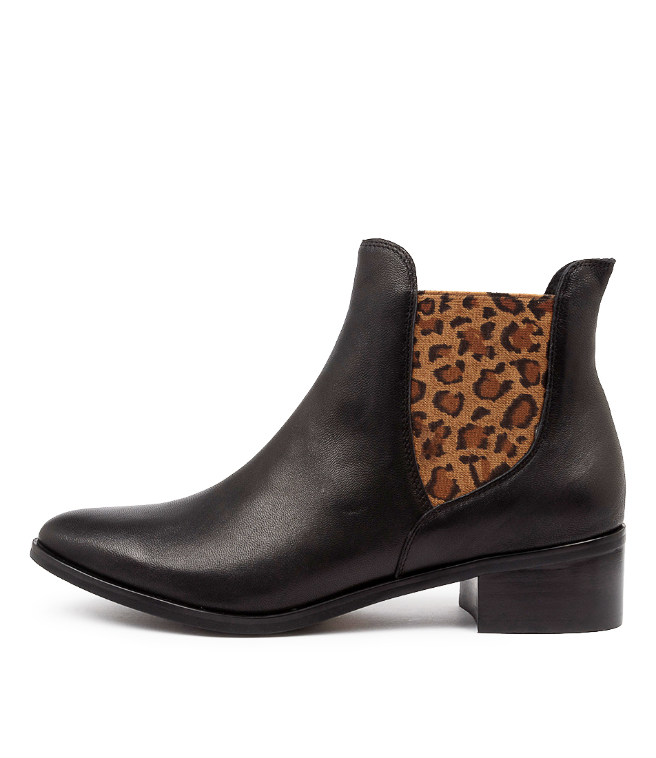 Buy Django & Juliette Pancho Black Leopard Ankle Boots online with free shipping