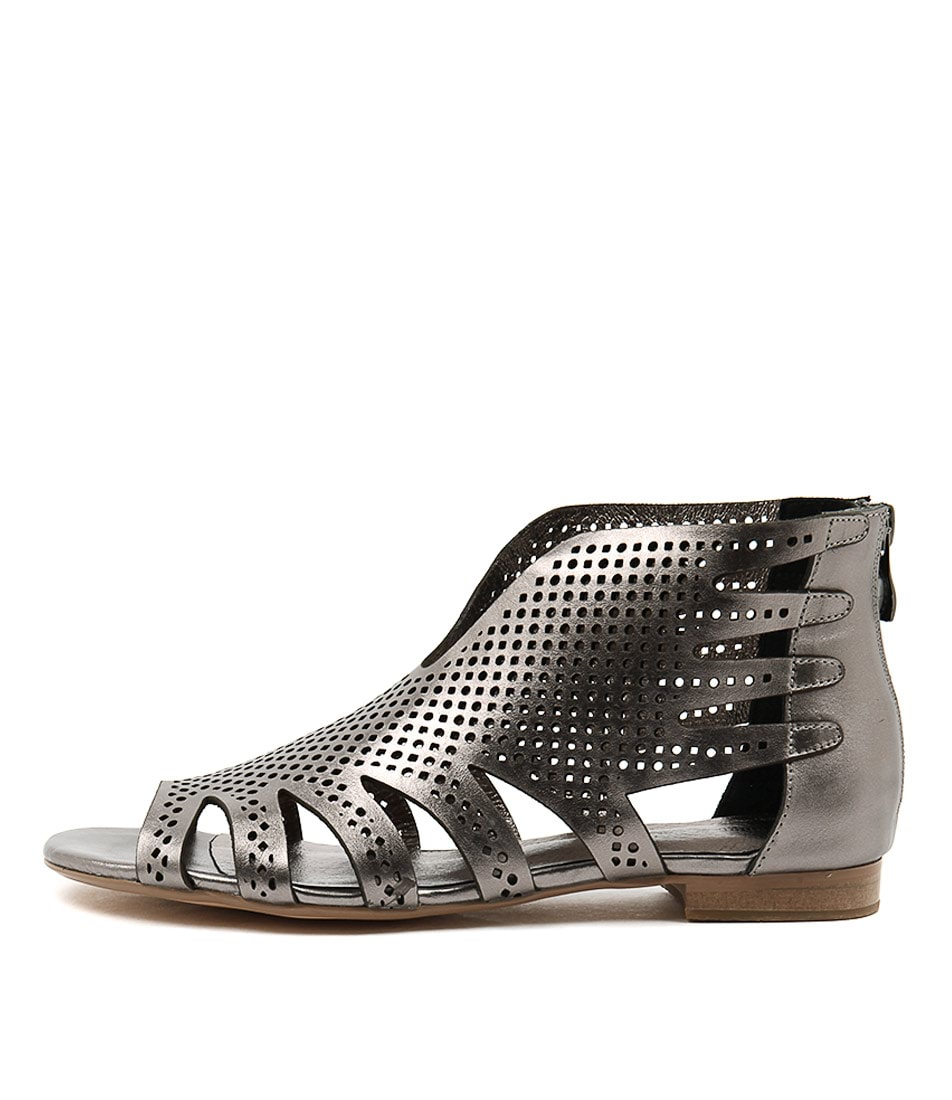 Django & Juliette Pandy Pewter Pewter Casual Flat Sandals