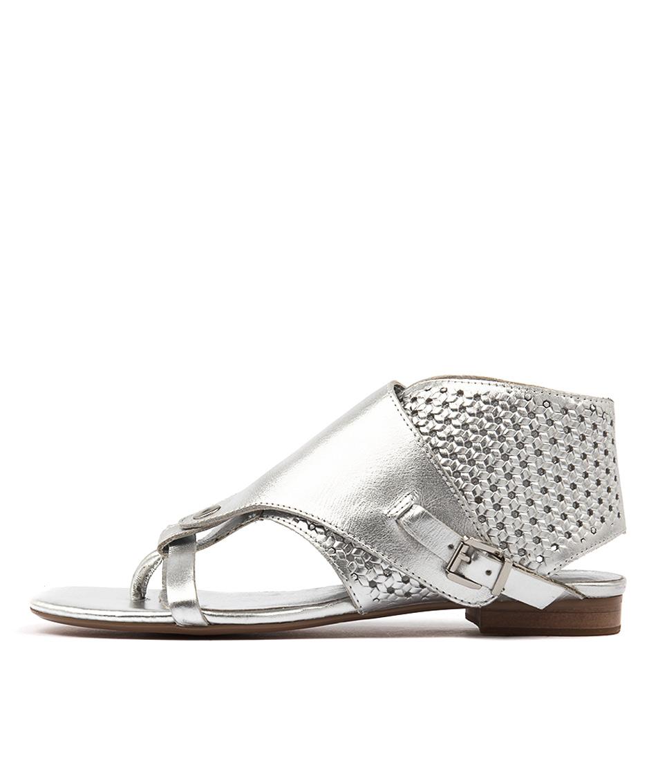 Django & Juliette Prickles Silver Casual Flat Sandals