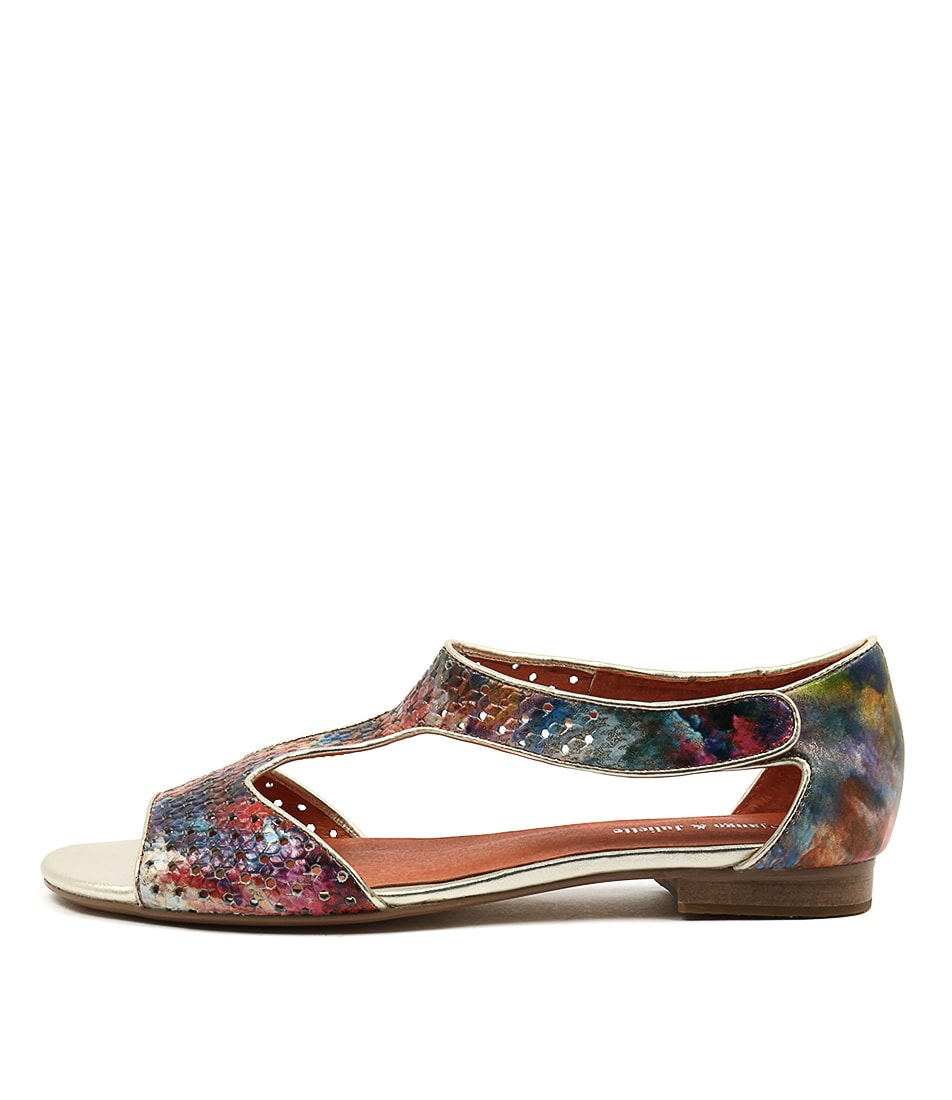 Django & Juliette Prigore Orange Multi Casual Flat Sandals