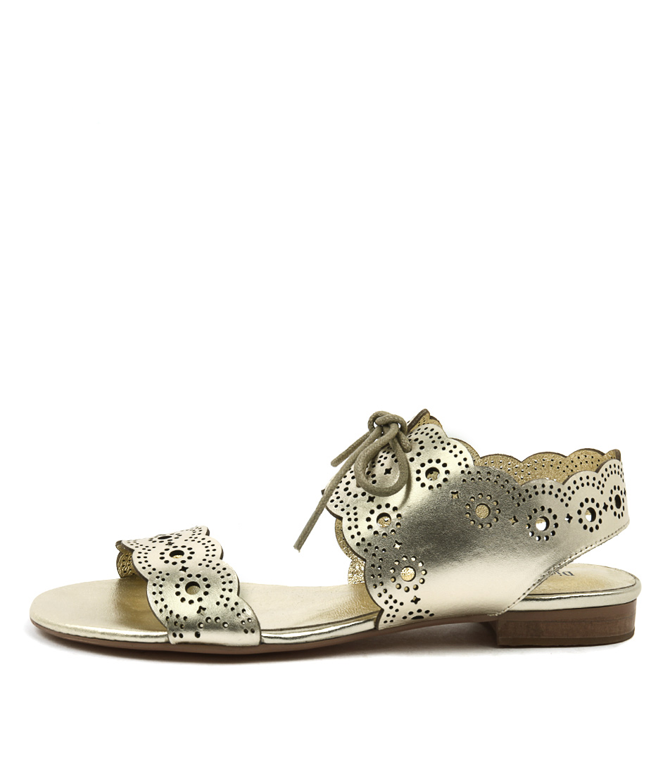 Django & Juliette Princi Pale Gold Flat Sandals