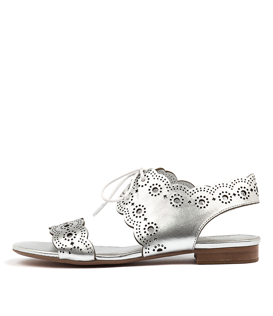 Django & Juliette Princi Silver Casual Flat Sandals