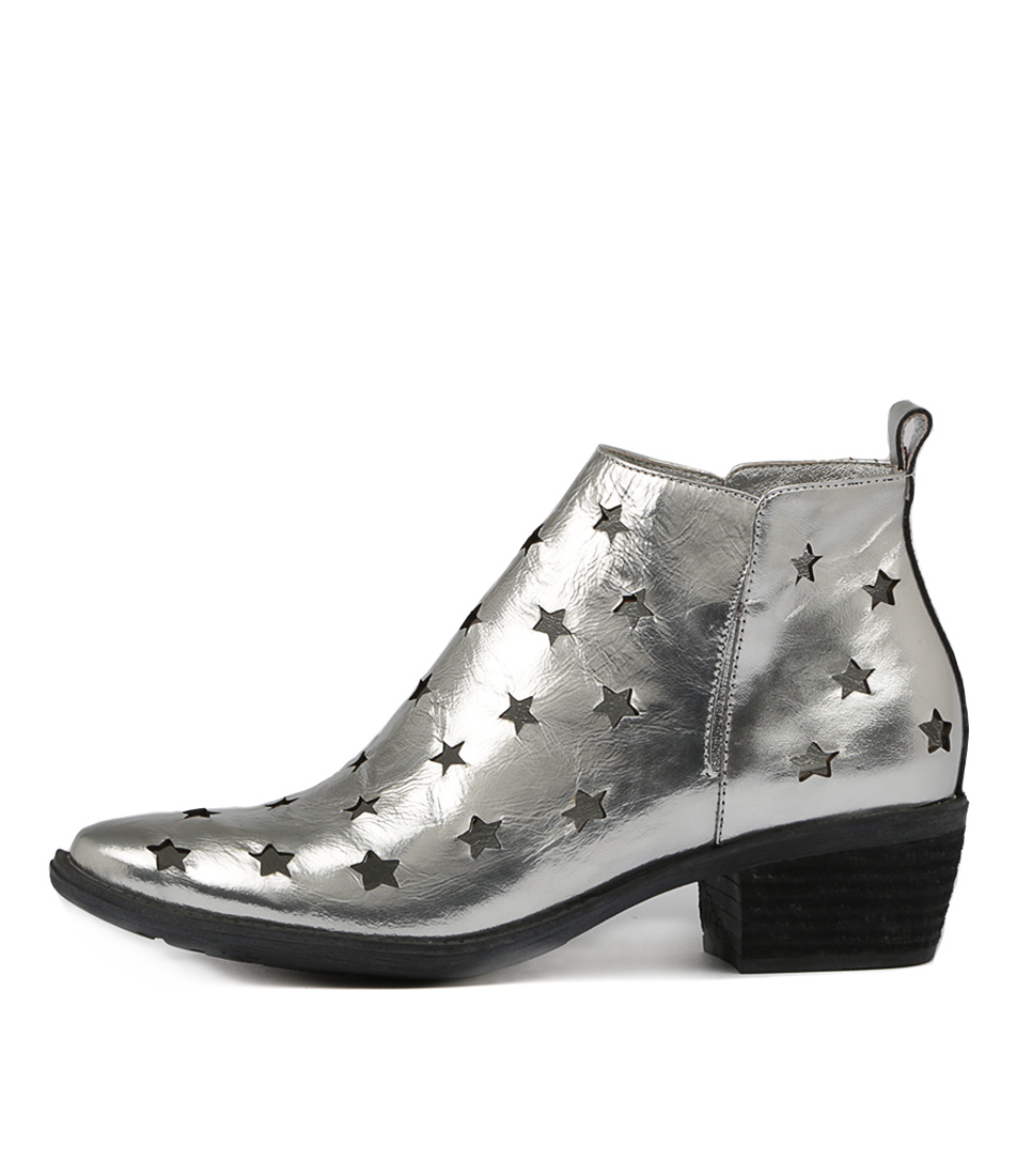 Photo of Django & Juliette Sacred Silver Ankle Boots womens shoes