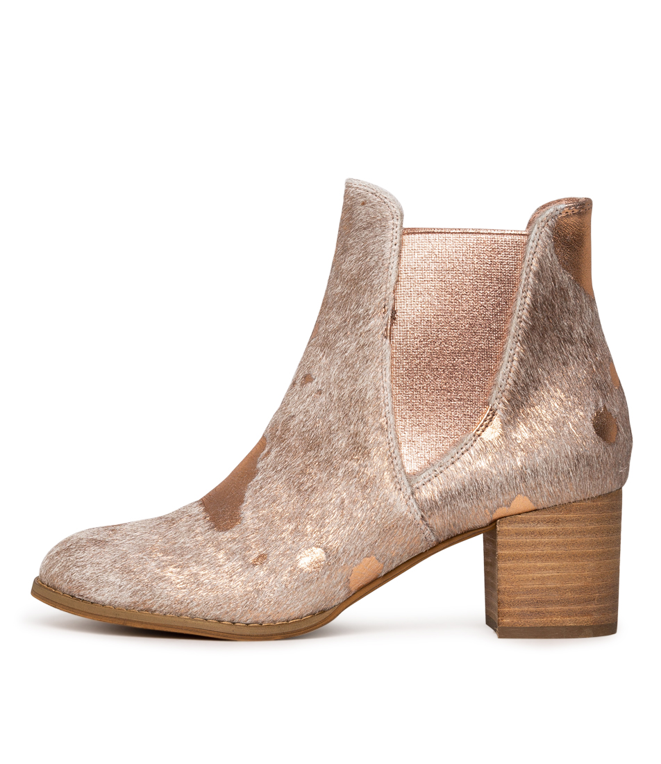 Buy Django & Juliette Sadore Nude & Rose Gold Ankle Boots online with free shipping