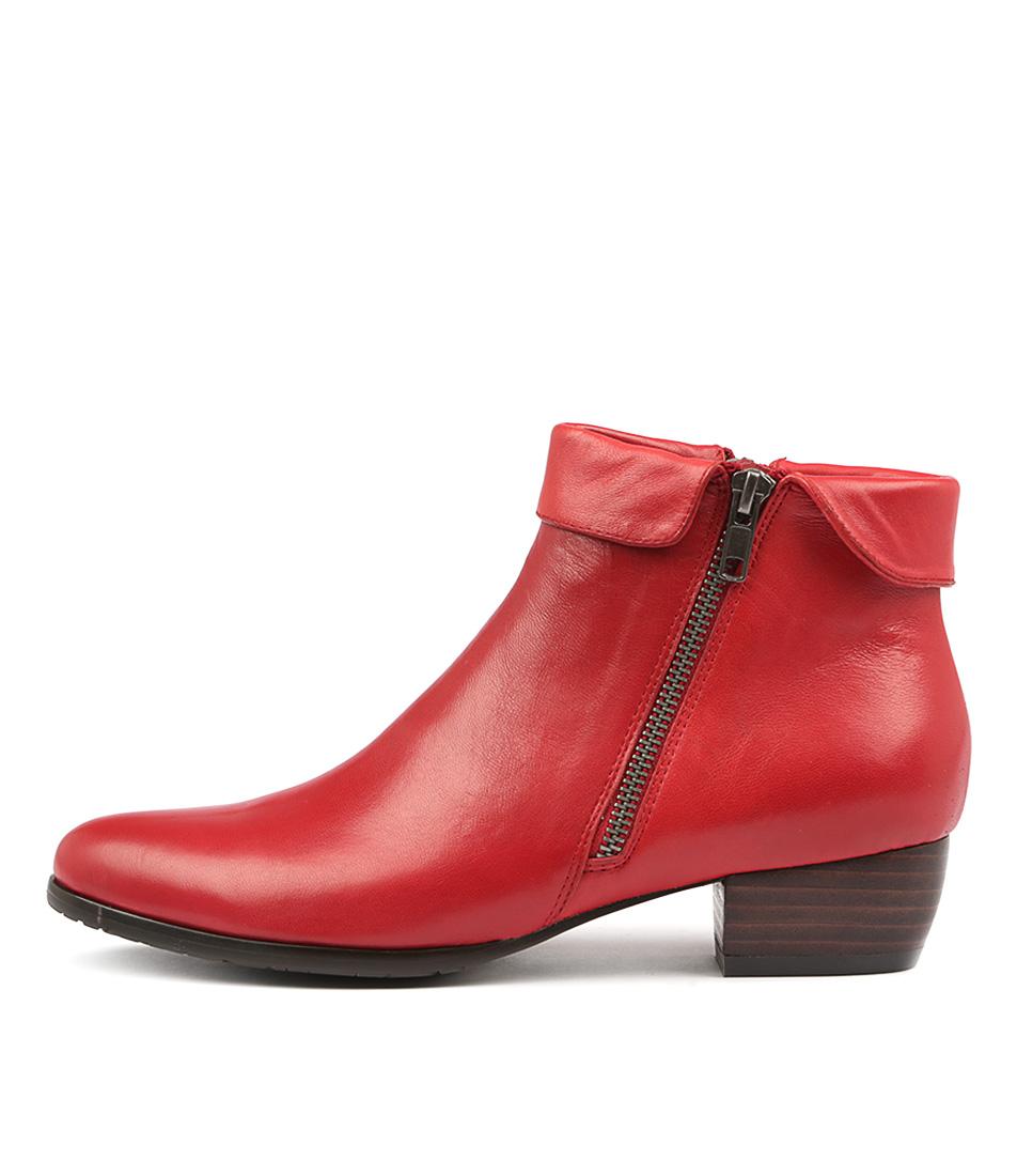 Django & Juliette Twinzip Red Ankle Boots