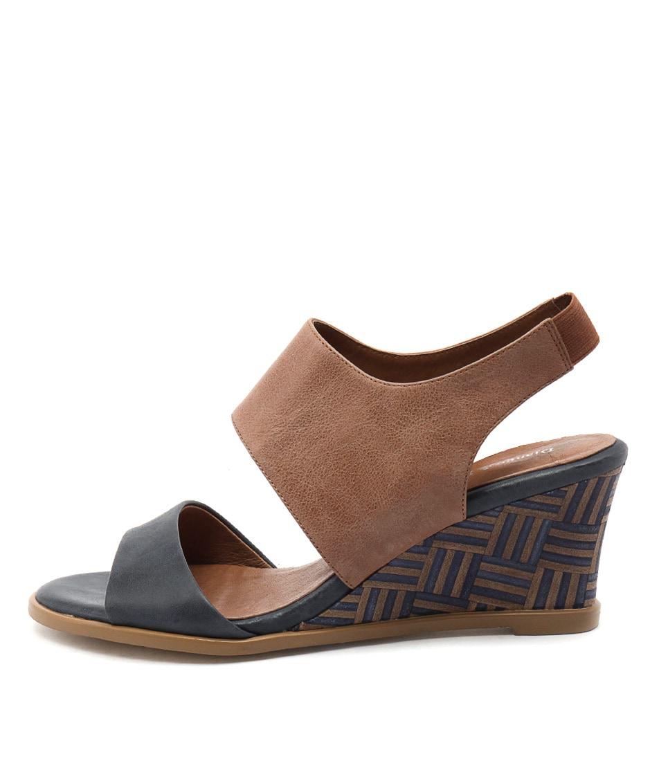 Django & Juliette Undez Navy Tan Casual Heeled Sandals