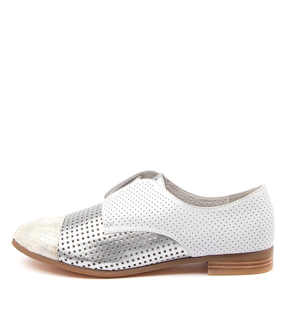Buy Django & Juliette Jacca White & Silver Wh Flats online with free shipping