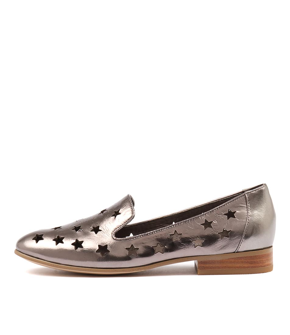 Django & Juliette Lashes Pewter Flat Shoes