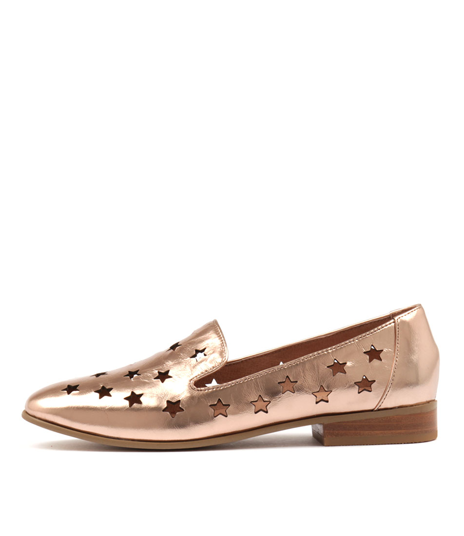 Django & Juliette Lashes Rose Gold Flat Shoes
