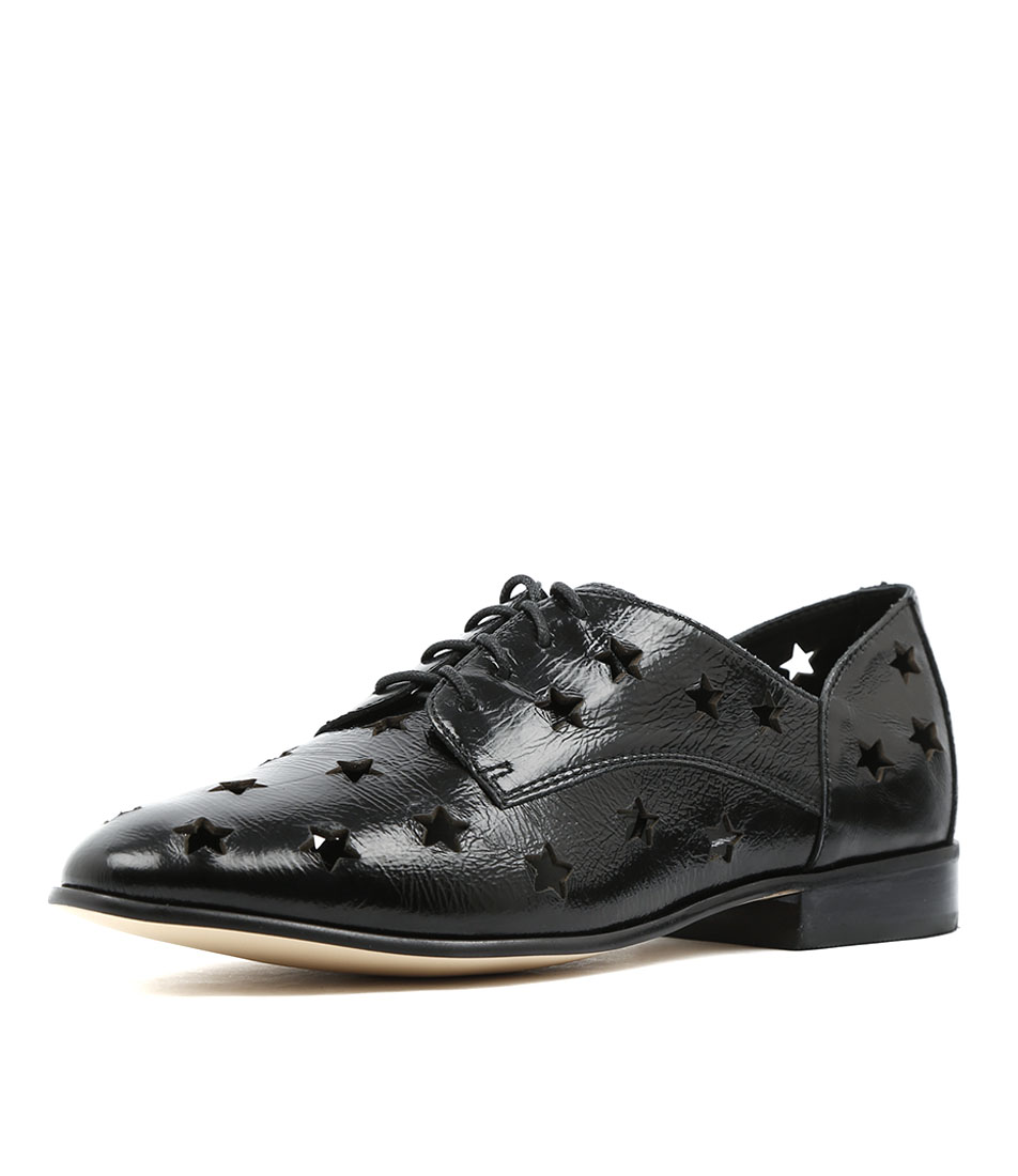 Django & Juliette Layer Black Metallic Flat Shoes