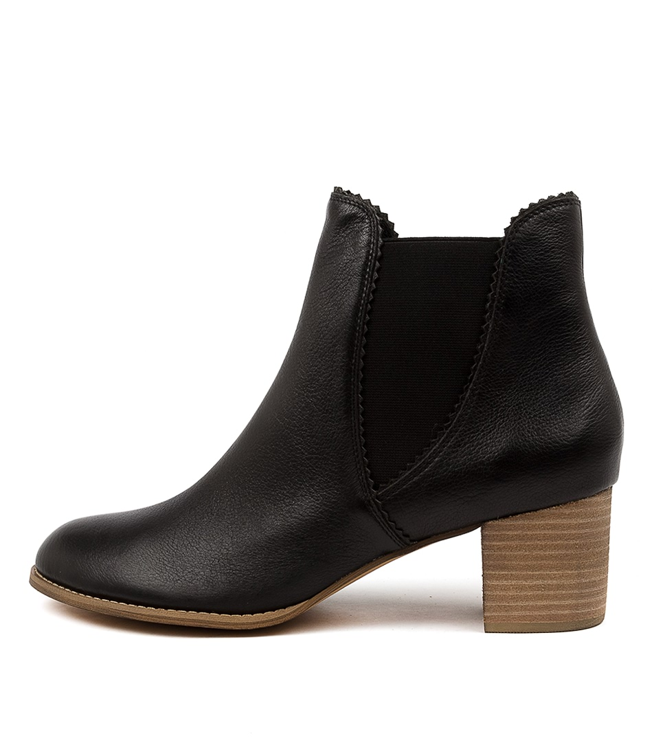 Buy Django & Juliette Sadore Lrg Black Natural Heel Ankle Boots online with free shipping