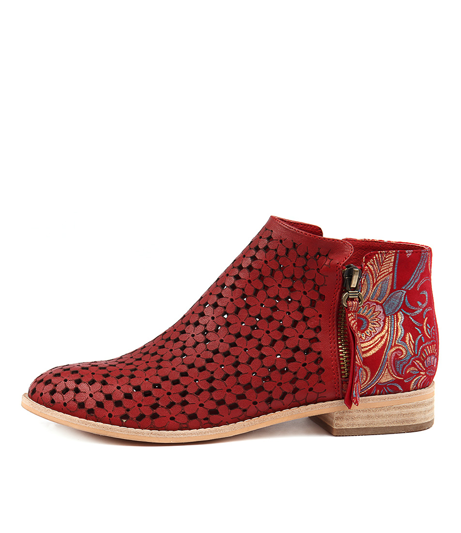 Django & Juliette Alex Red Red Paisley Ankle Boots