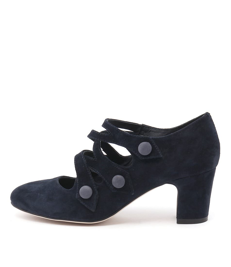 Django & Juliette Emelda Navy Navy Heeled Shoes