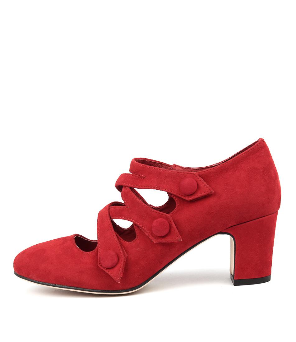 Django & Juliette Emelda Red Red Heeled Shoes