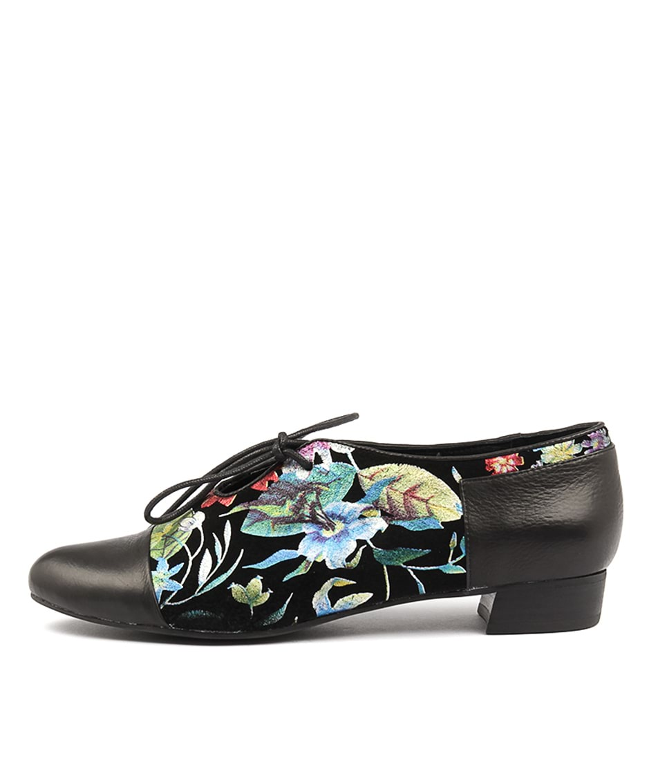 Django & Juliette Evan Black Bright Fl Flat Shoes