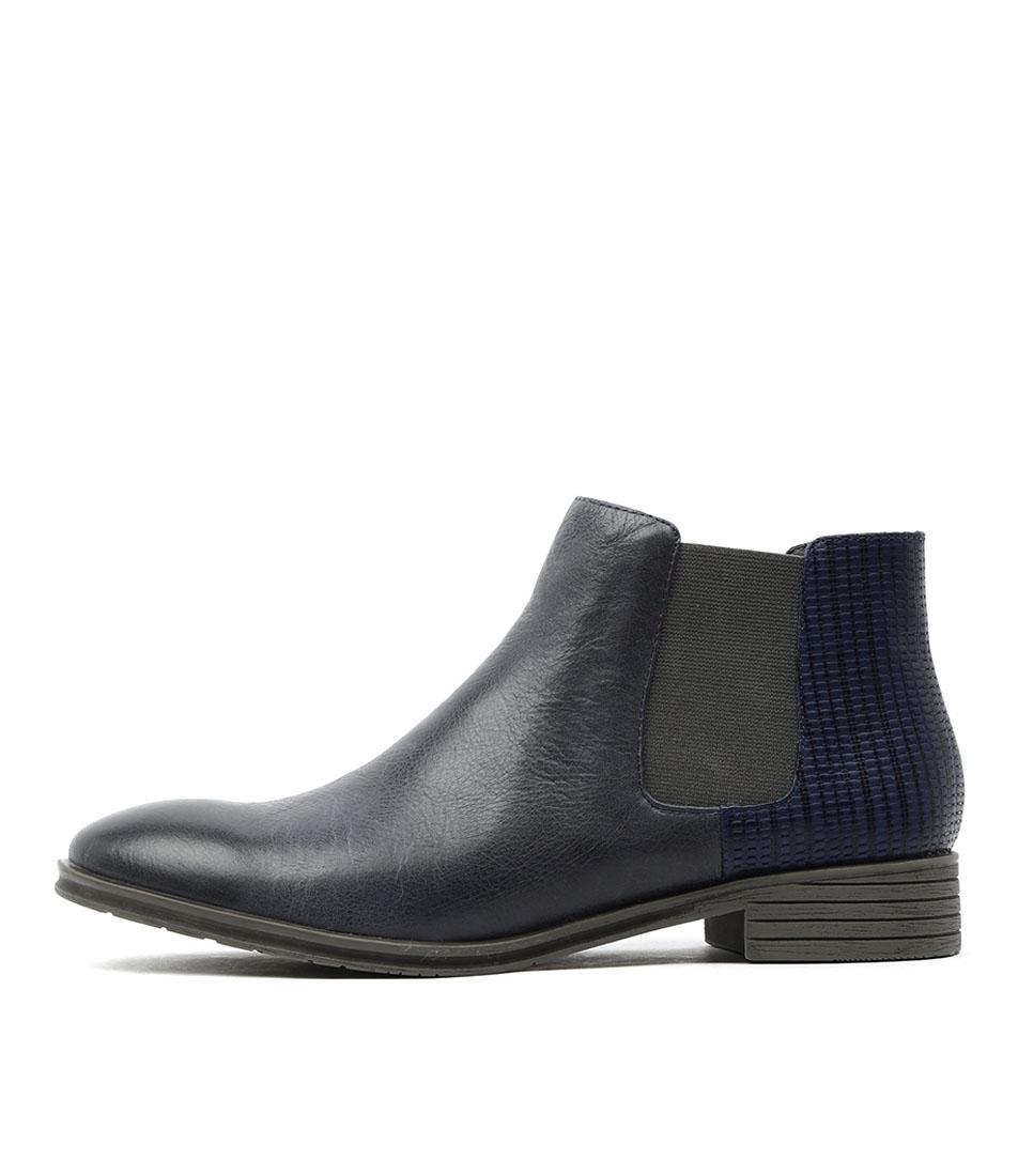 Django & Juliette Fali Dk Blue Casual Ankle Boots