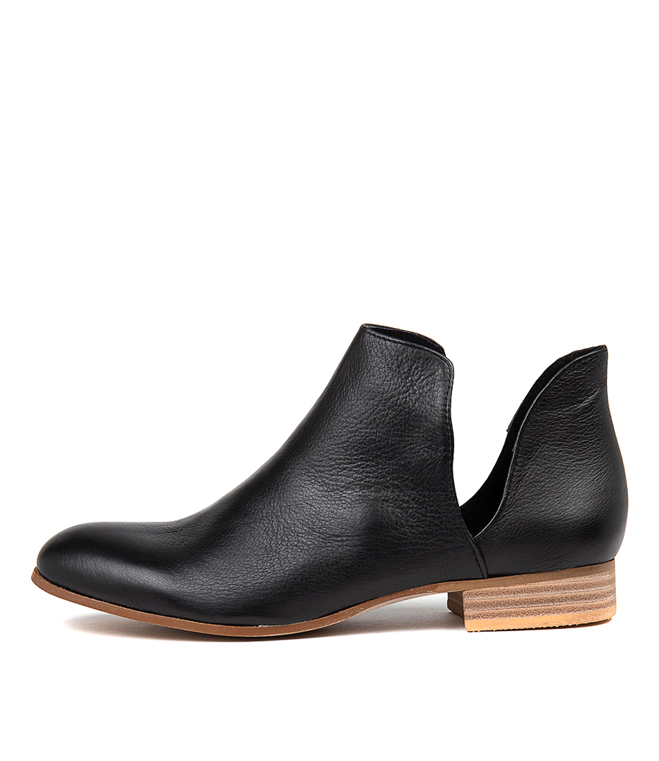 Buy Django & Juliette Fecks Black Natural Heel Ankle Boots online with free shipping