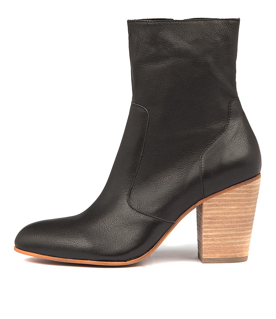 Django & Juliette Hester Black Natural Heel Ankle Boots