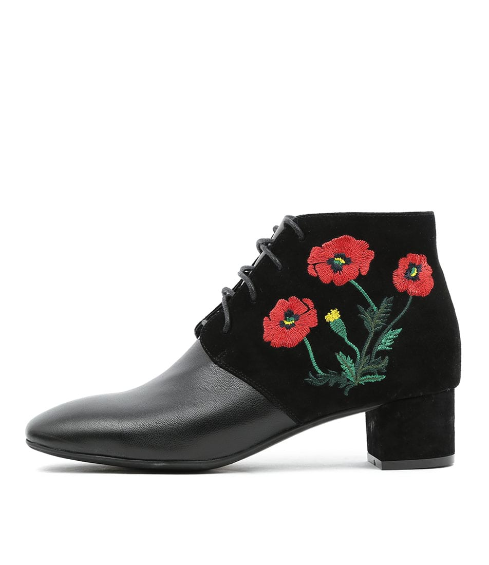 Django & Juliette Jacinda Black Black Red Embroidery Boots