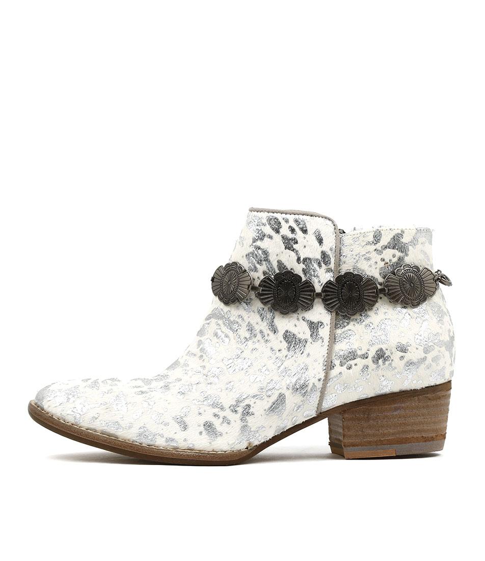 Django & Juliette Leroy White & Silver Ankle Boots