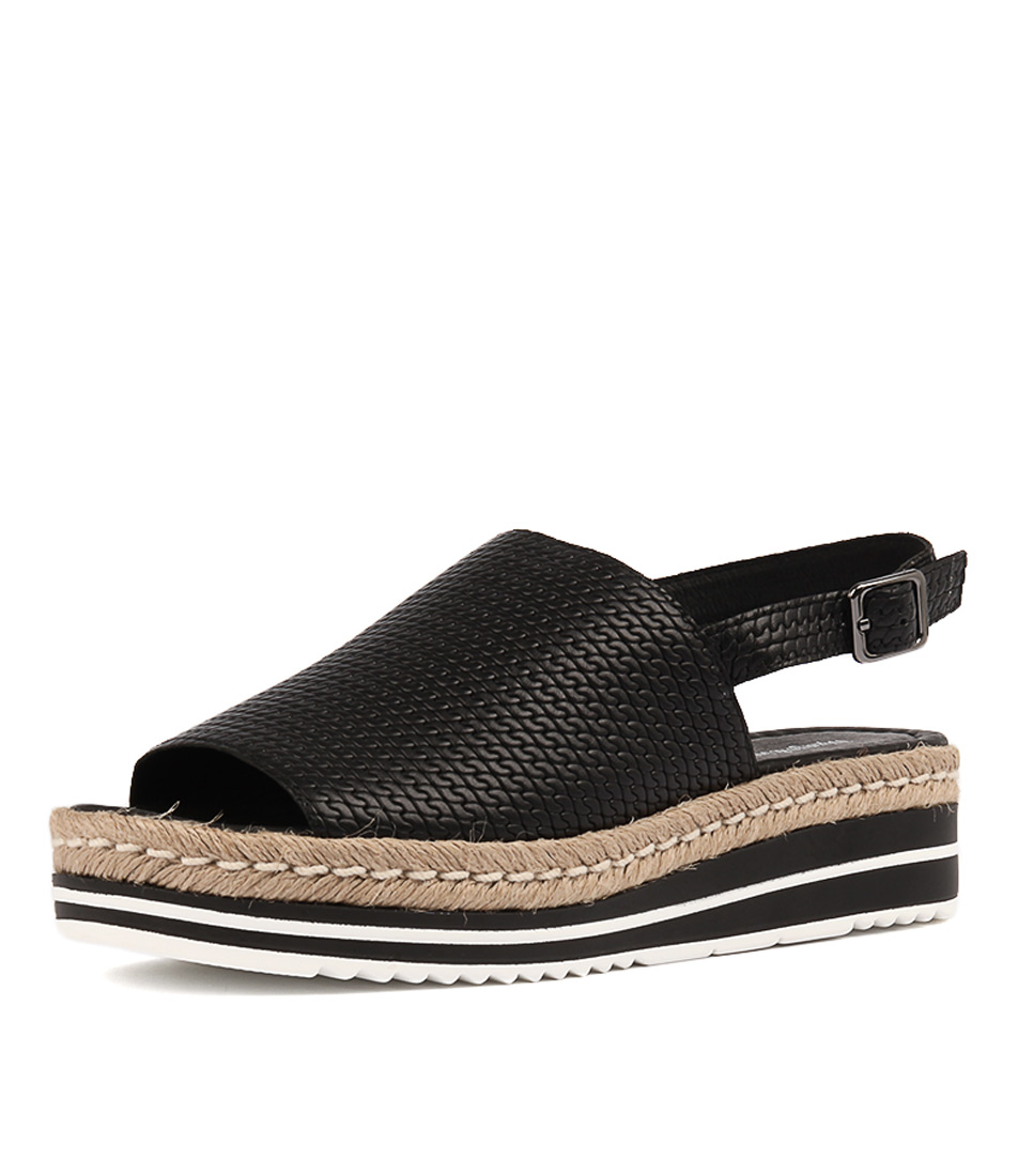 Django & Juliette Adidah Black Flat Sandals