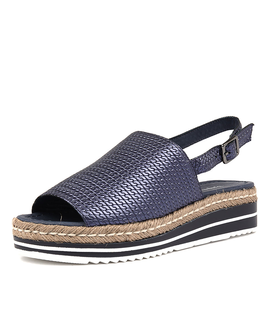 Django & Juliette Adidah Navy Metallic Sandals Womens Shoes Sandals
