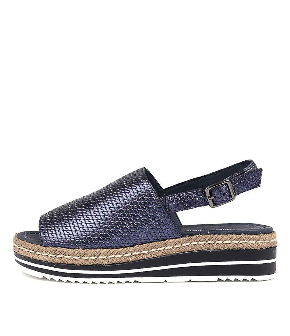 Buy Django & Juliette Adidah Navy Metallic Flat Sandals online with free shipping