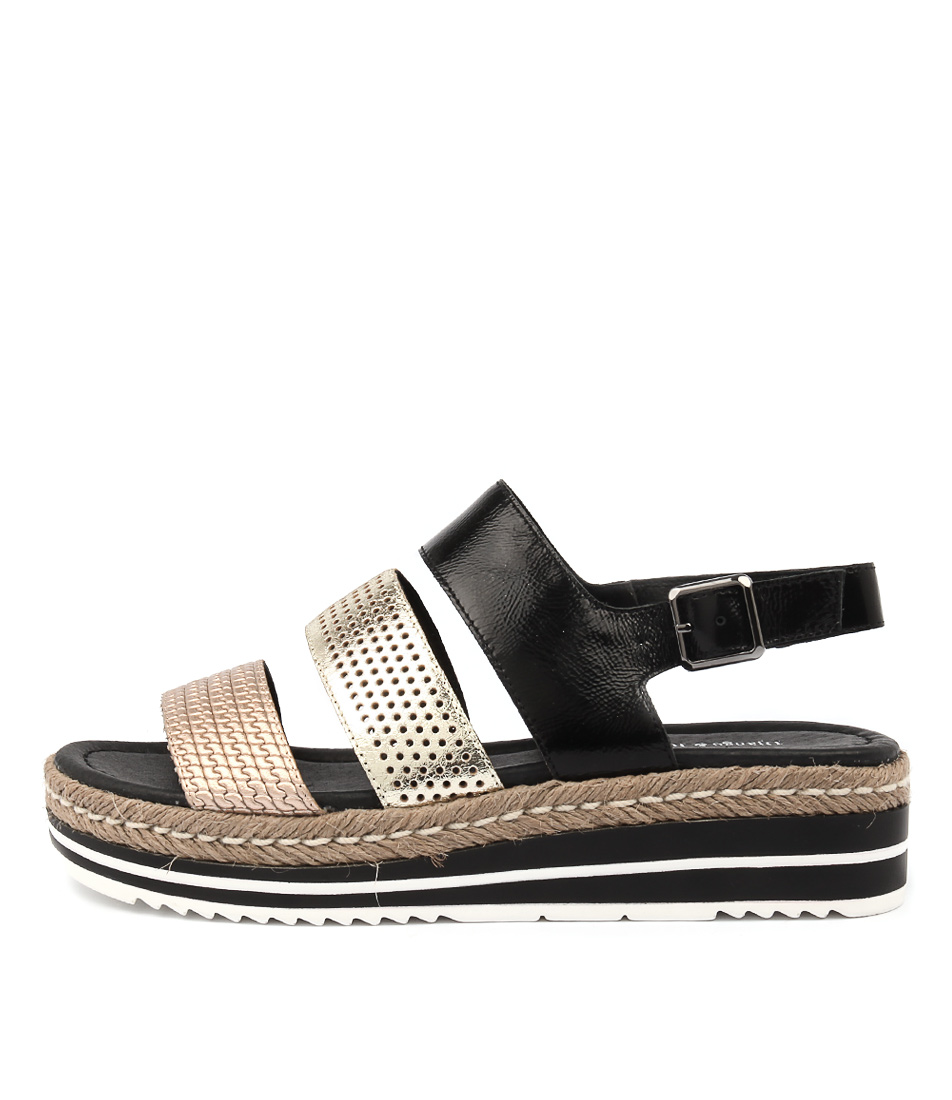 Django & Juliette Akidna Black Gold Sandals