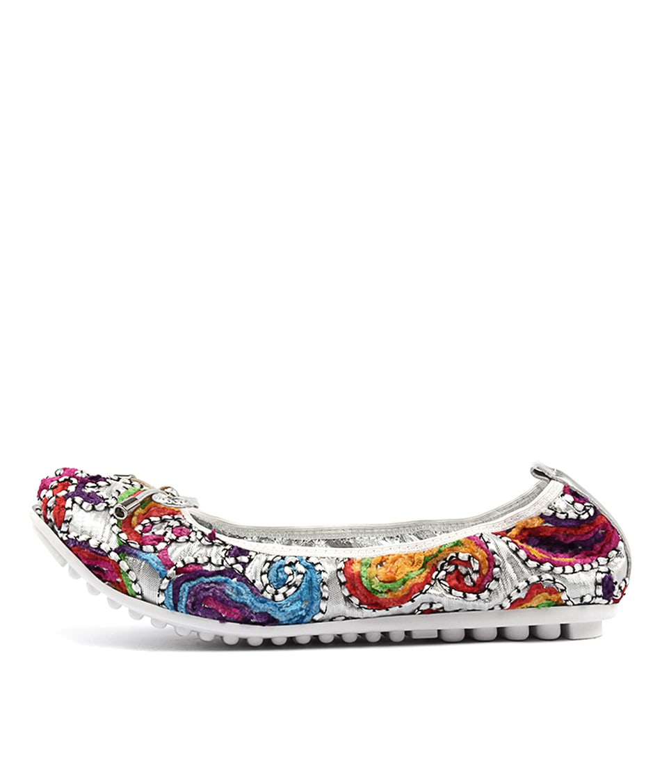 Django & Juliette Bellin Silver Boho Casual Flat Shoes