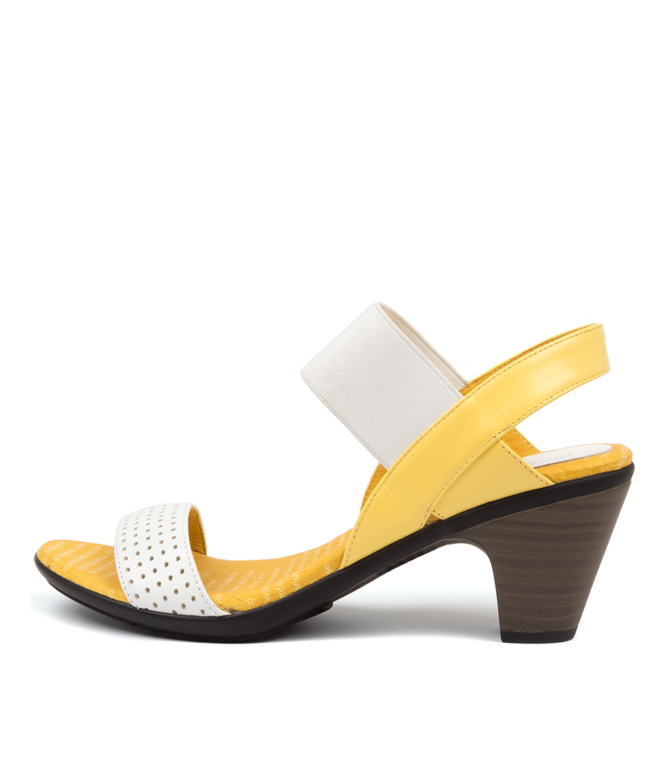 Buy Django & Juliette Fastner White Yellow Heeled Sandals online with free shipping