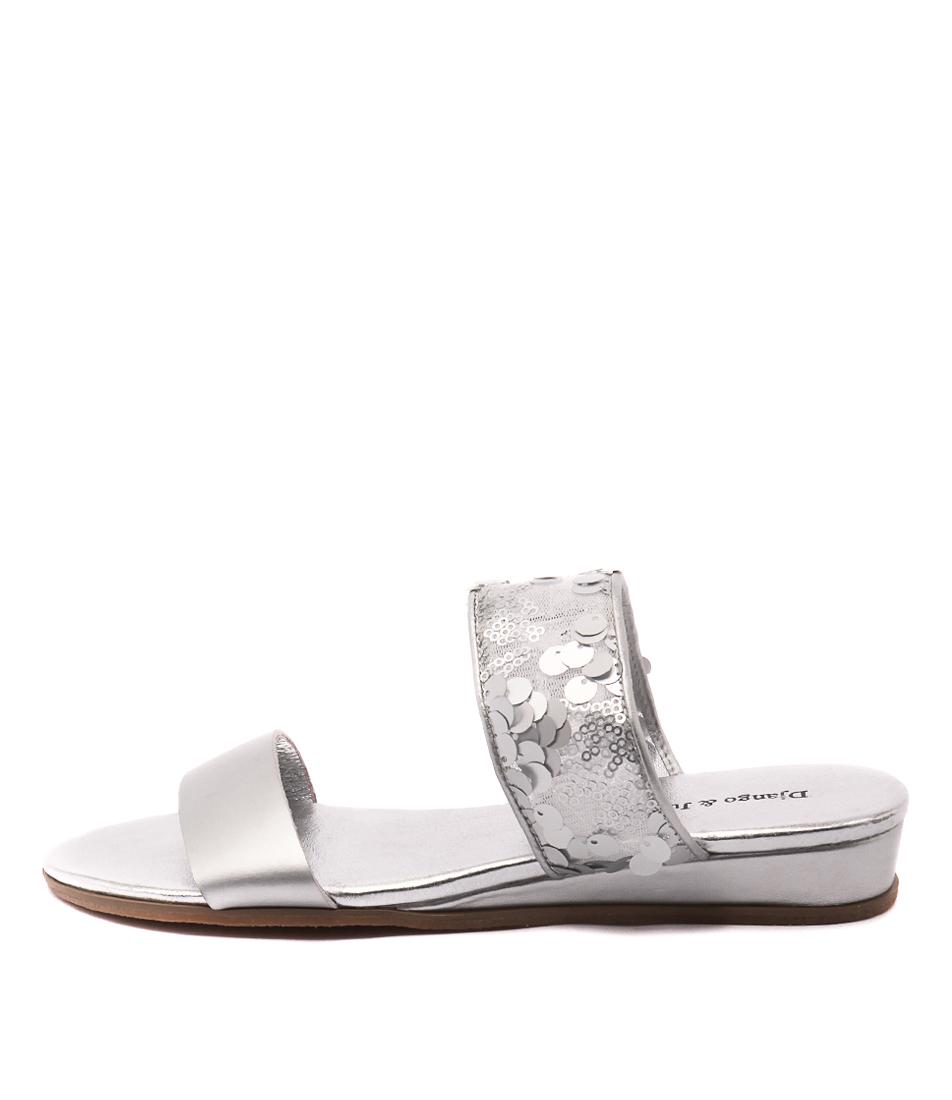 Django & Juliette Hesian Matt Silver Sil Casual Heeled Sandals