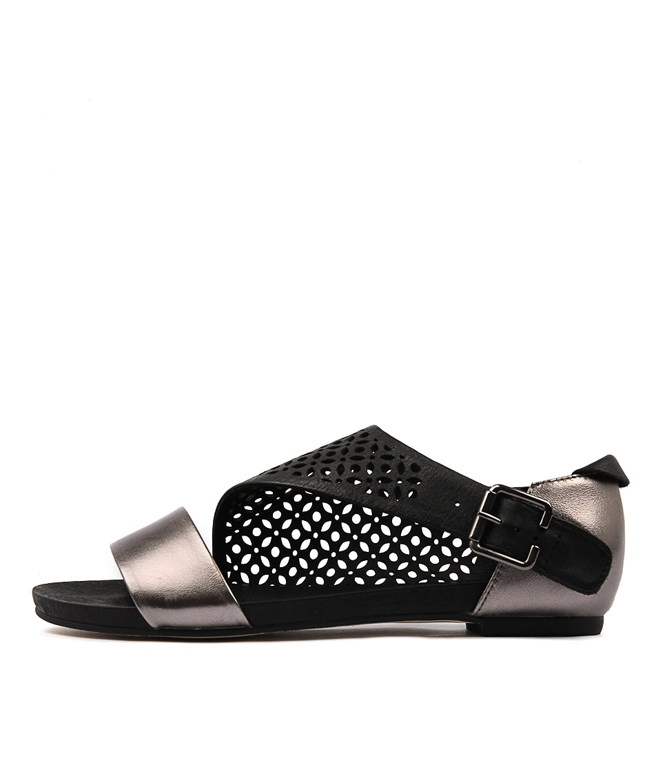 Django & Juliette Jada Pewter Black Casual Flat Sandals