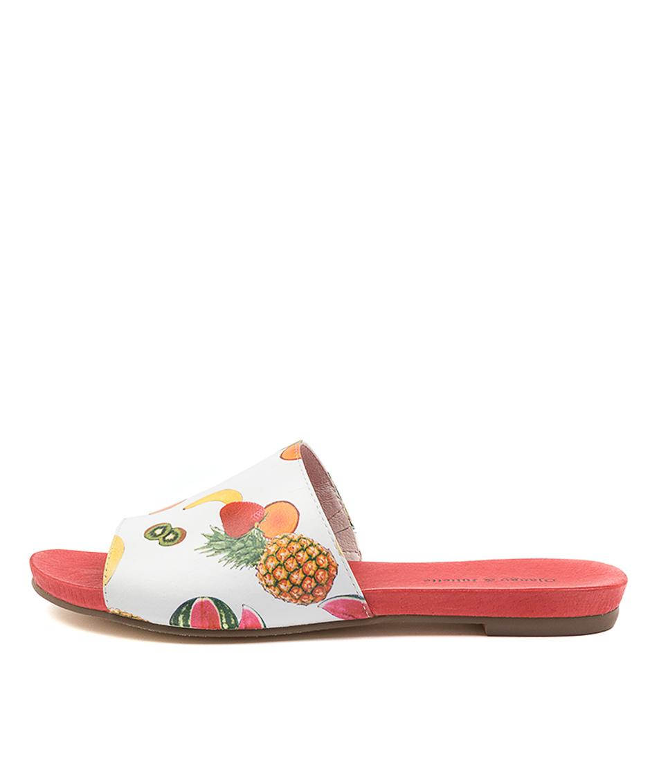 Buy Django & Juliette Jallas White Fruit Salad Flat Sandals online with free shipping