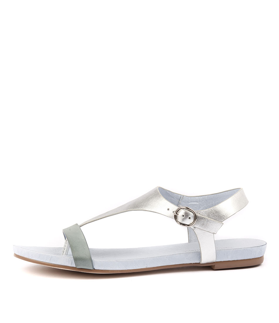 Django & Juliette Janae Pale Blue Silver Flat Sandals