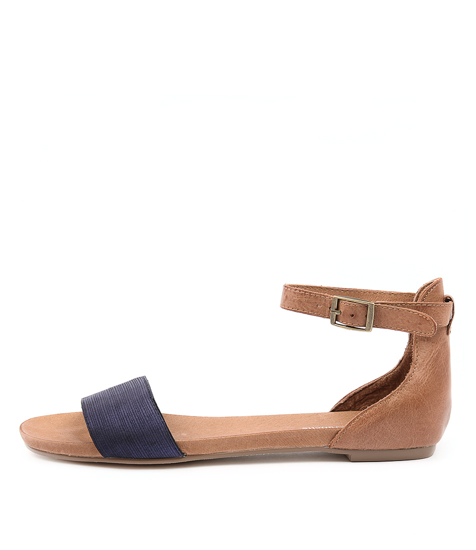 Photo of Django & Juliette Jemila Blue Tan Flat Sandals womens shoes