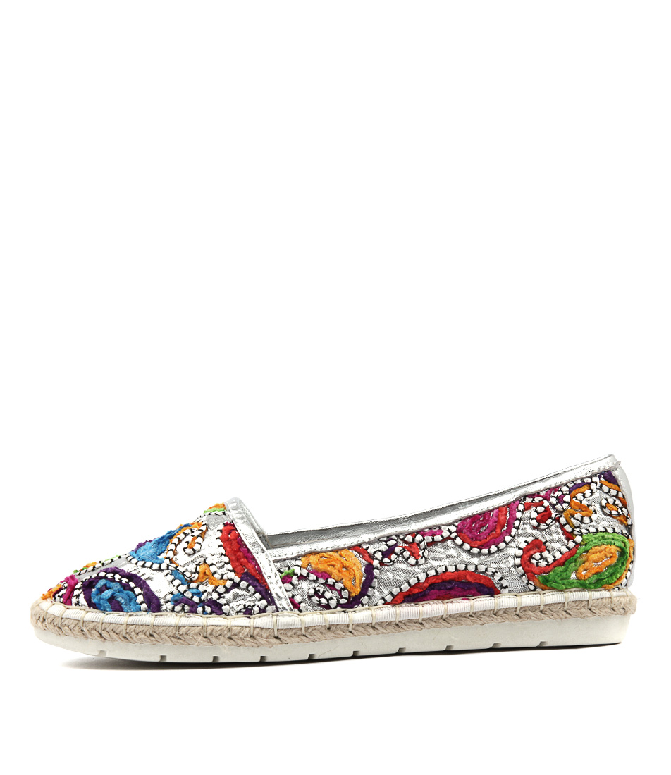 Django & Juliette Jiffers Silver Boho Sil Flat Shoes