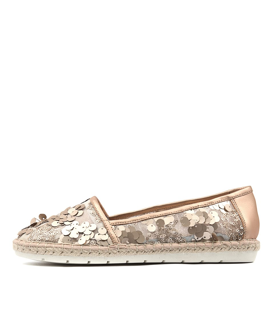 Django & Juliette Jossa Rose Gold Matt Flat Shoes