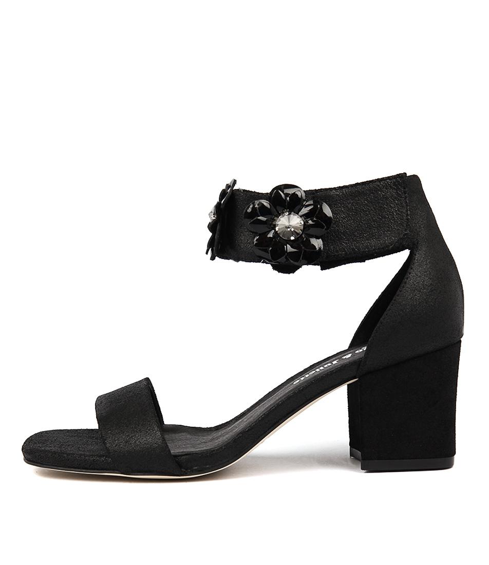 Photo of Django & Juliette Latisha Black Dust Blac Heeled Sandals womens shoes