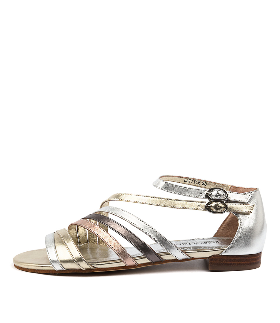 Django & Juliette Lattice Metallic Multi Casual Flat Sandals