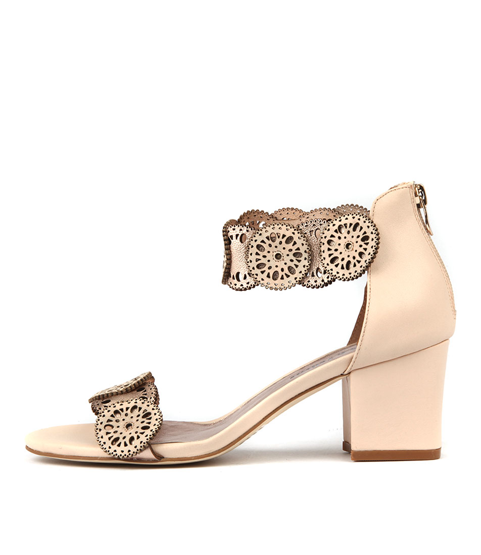 Django & Juliette Legra Beige Rose Gold Casual Heeled Sandals